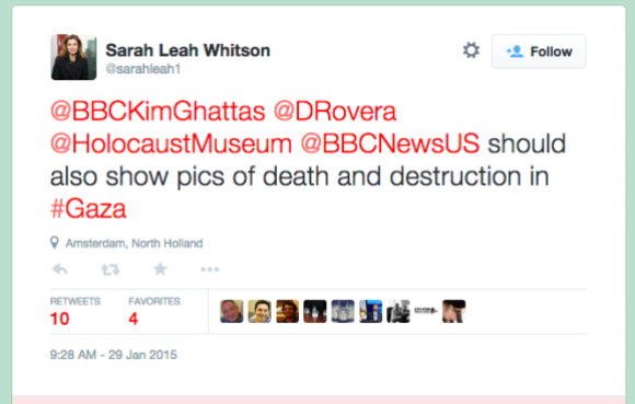 "Executive Director of Middle East and North Africa Division of Human Rights Watch, Sarah Leah Whitson, tweets to United States Holocaust Memorial Museum: ""Show pics of death and destruction in #Gaza"" (sarahleah1, 2015)"